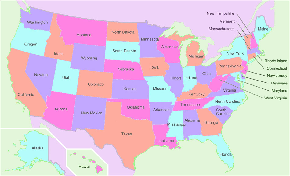 Map of the USA – Map of North America