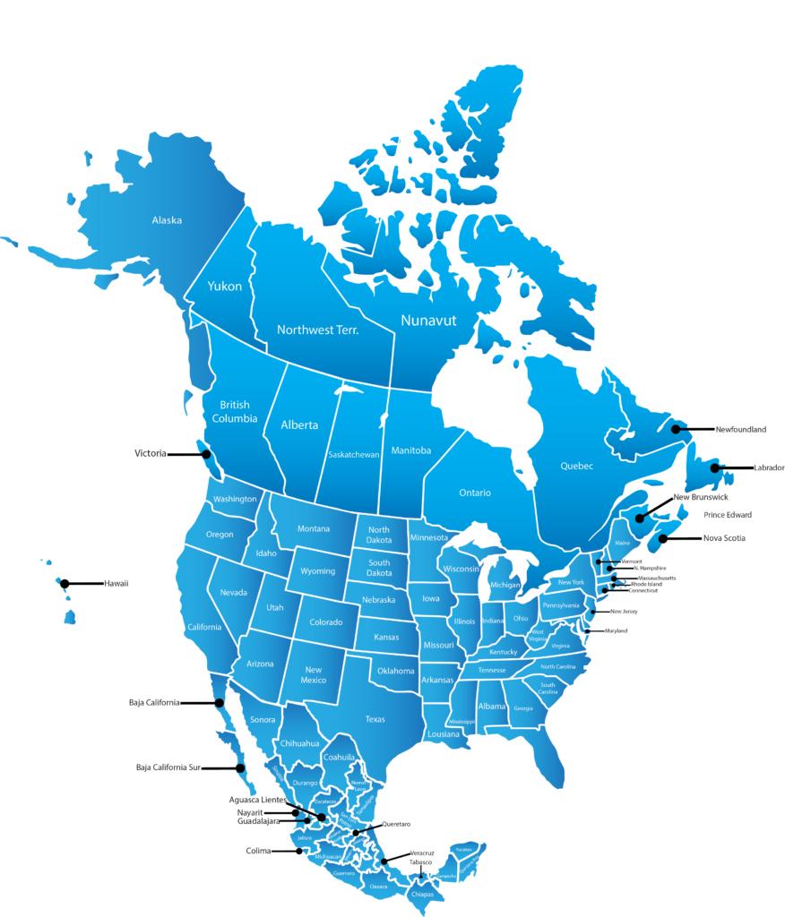 Map Of North America 2018 Map Of North America