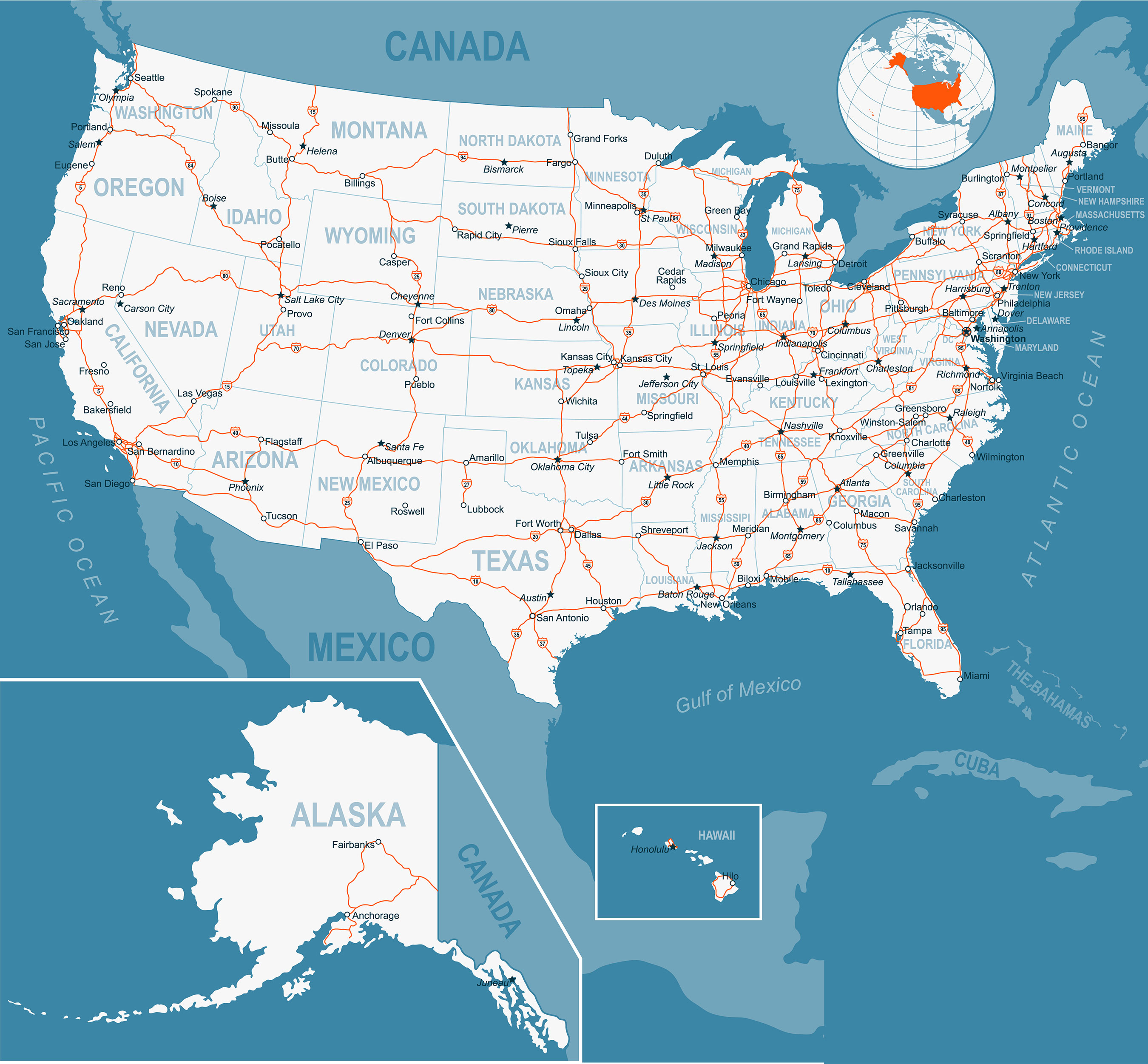 Road Map of USA | Map of North America